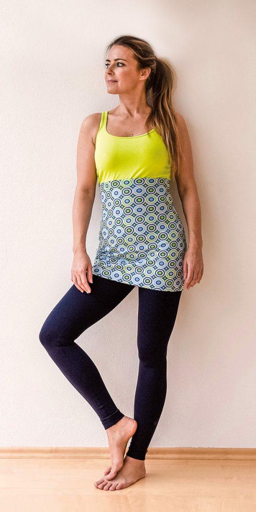 yogatube nierenwärmer cacheur bauchband backwarmer Baumwolljersey Yogakleidung Ringel Kreise grün hellgrün blau hellblau weiß