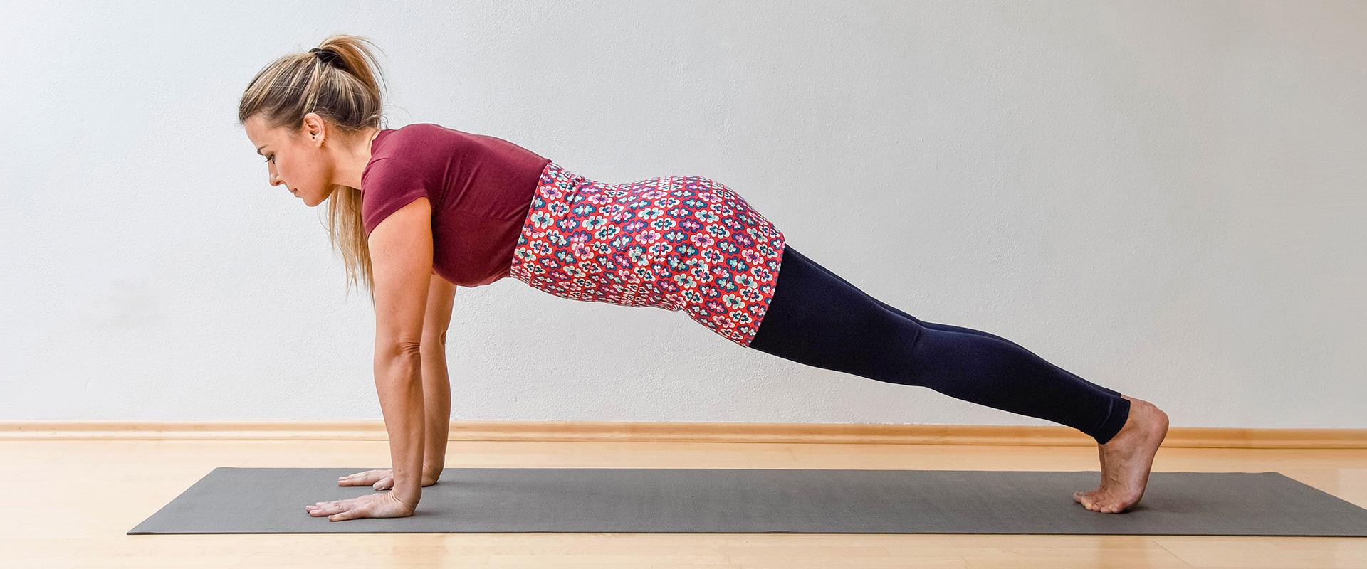yogatube nierenwärmer cacheur bauchband backwarmer Baumwolljersey Yogakleidung Prilblumen rot petrol