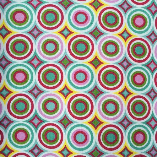 Zirkelstoff Kreise grün rosa gelb weiß rot