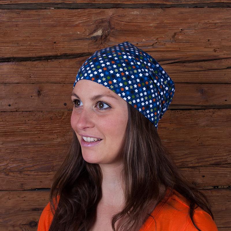 Mütze Beanie Beaniemütze Baumwolljersey Sommermütze Laufbekleidung Joggen Sternchen Sterne grau orange blau oliv