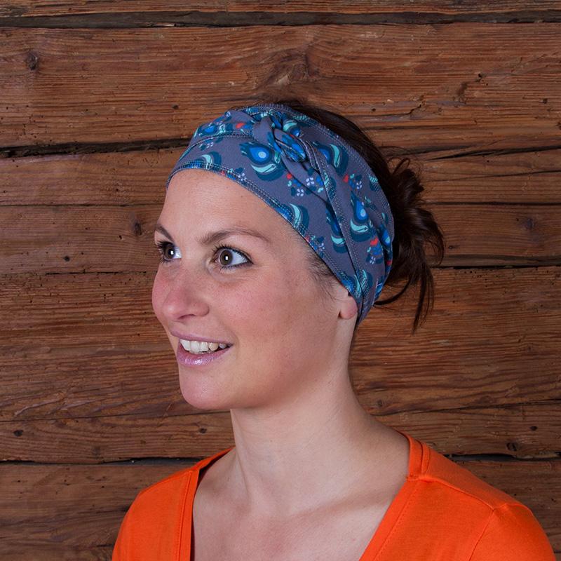 Haarband Stirnband Baumwolljersey Laufbekleidung Joggen Hamburgerliebe grau rot petrol