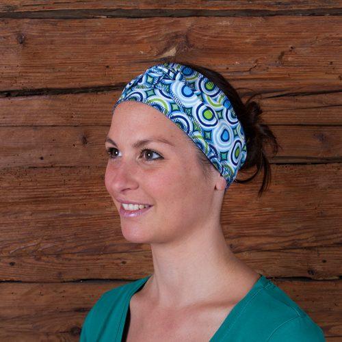 Haarband Stirnband Baumwolljersey Laufbekleidung Joggen Kreise Ringel Zirkel bunt grün weiß blau hellblau