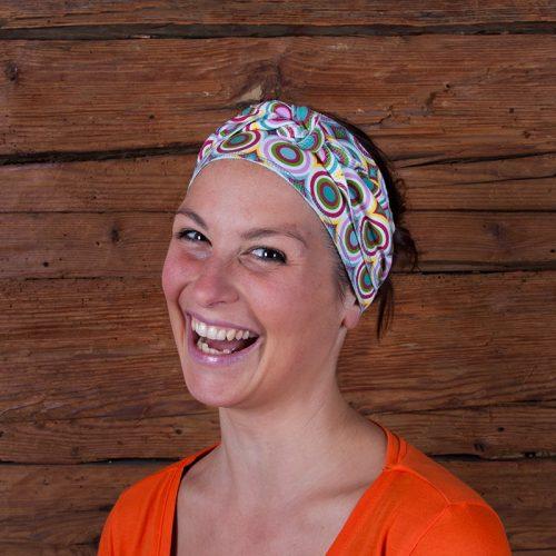 Haarband Stirnband Baumwolljersey Laufbekleidung Joggen Kreise Ringel Zirkel bunt rot grün gelb weiß rosa