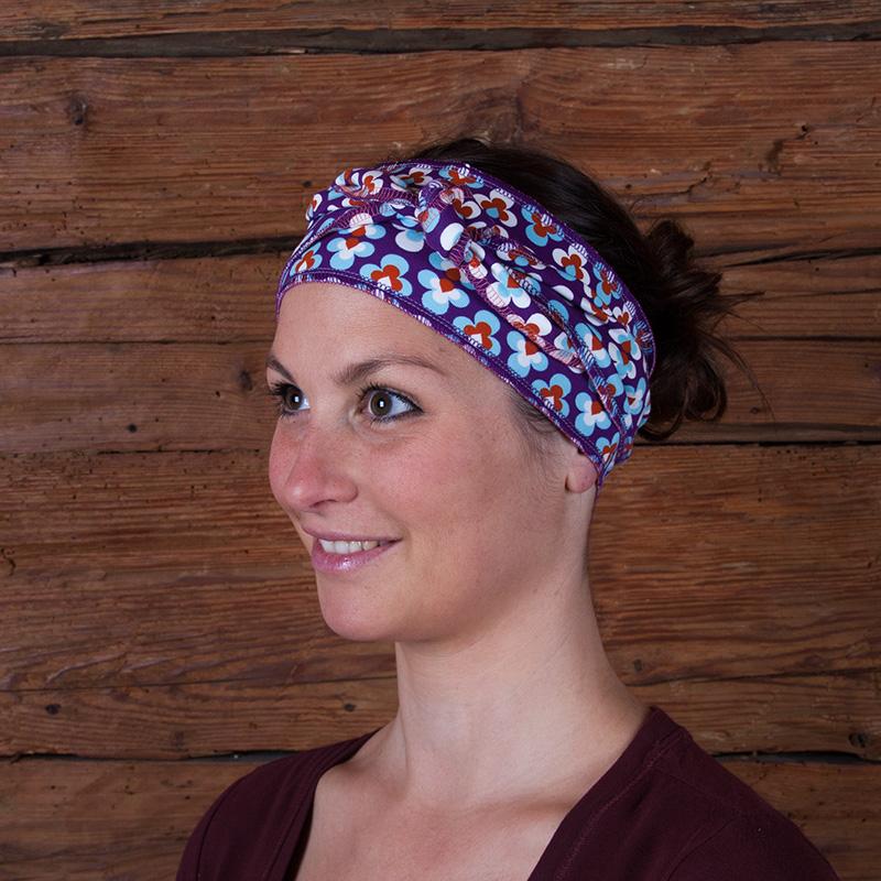 Haarband Stirnband Baumwolljersey Laufbekleidung Joggen Prilblumen Retro lila hellblau weiß orange