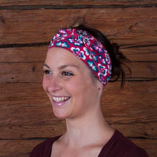 Haarband Stirnband Baumwolljersey Laufbekleidung Joggen Prilblumen Retro rot petrol weiß pink
