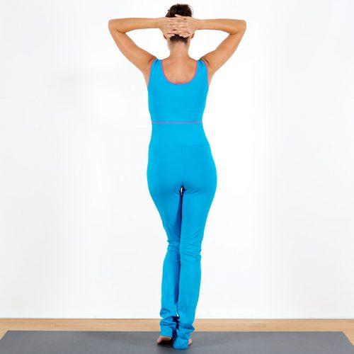 Yogaoverall Yogajumpsuit Jumpsuit türkis pink verschlusslos Baumwolljersey fair regional Niederbayern Yogakleidung