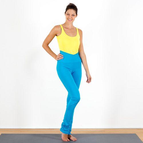 Yogalegging Yogahose Yogapant Legging Stick Mandala bestickt türkis bunt gelb Baumwolljersey hoher Bund Kreuzbund fair regional Niederbayern Yogakleidung