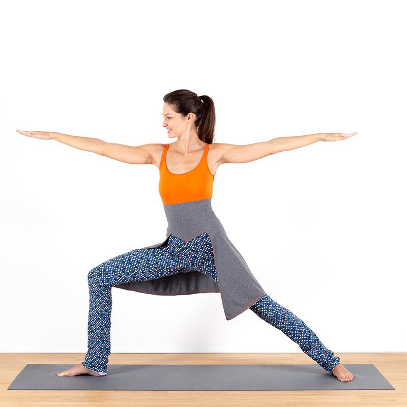 Yogalegging Yogahose Yogarock Rocklegging Yogapant Legging Sterne Sternchen grau bunt Baumwolljersey Kriegerposition
