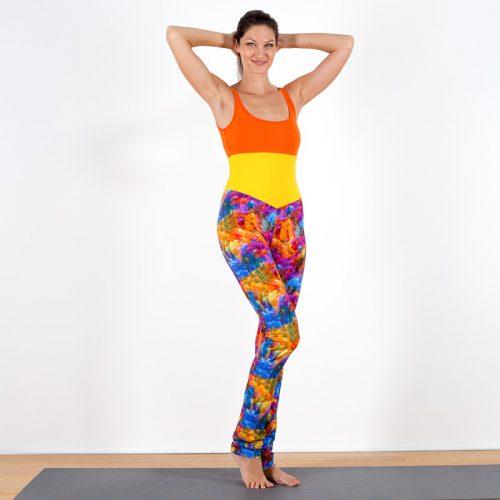 Yogalegging Yogahose Yogapant Legging Batik rot gelb blau pink bunt Baumwolljersey hoher Bund fair regional Niederbayern Yogakleidung