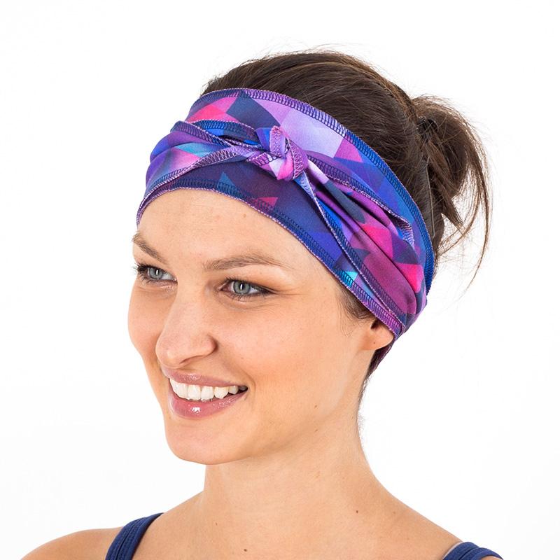 Stirnband Haarband blau türkis lila pink geometrisch Gürtel