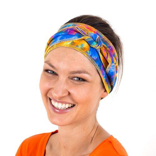 Stirnband Haarband Hippie bunt grün lila gelb pink türkis blau orange
