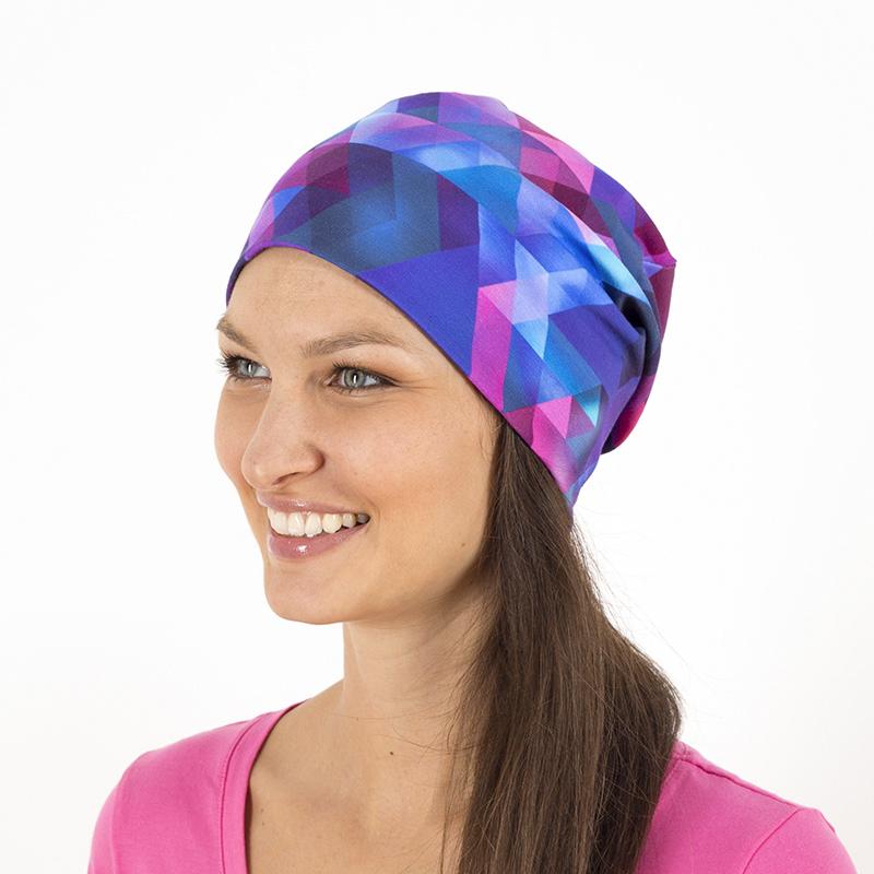 Mütze Beanie Beaniemütze Baumwolljersey Sommermütze Laufbekleidung Joggen geometrisch blau türkis rosa pink