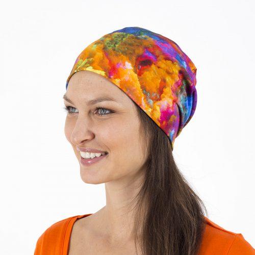 Mütze Beanie Beaniemütze Baumwolljersey Sommermütze Laufbekleidung Joggen Batik blau pink gelb rot gemustert
